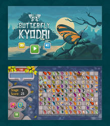 Butterflies match game UI and gfx by Vadich