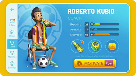 Casual Football Manager UI + Character Design