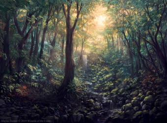 Magic: The Gathering M20 Promo Forest by Alayna