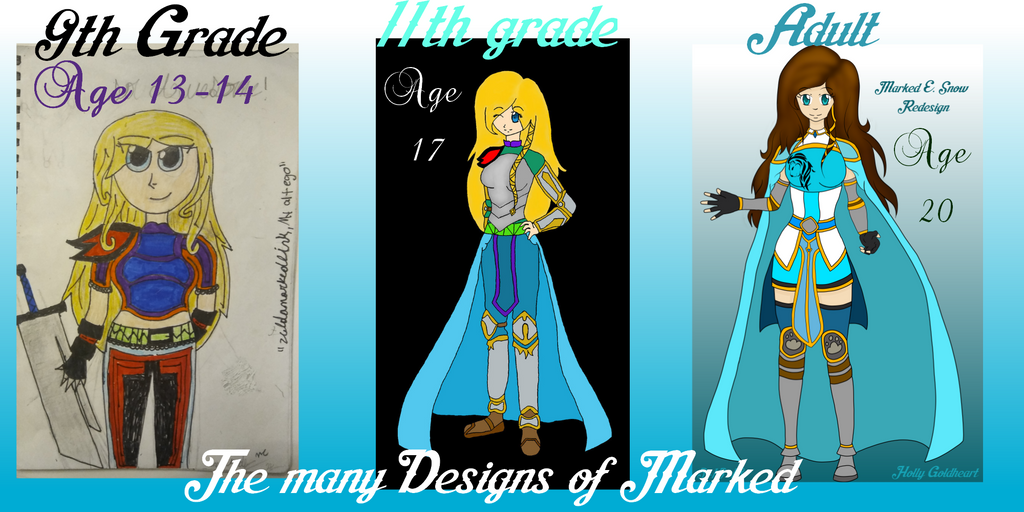 The many Designs of Marked over 5-6 years by EmpatheticMortalAnge