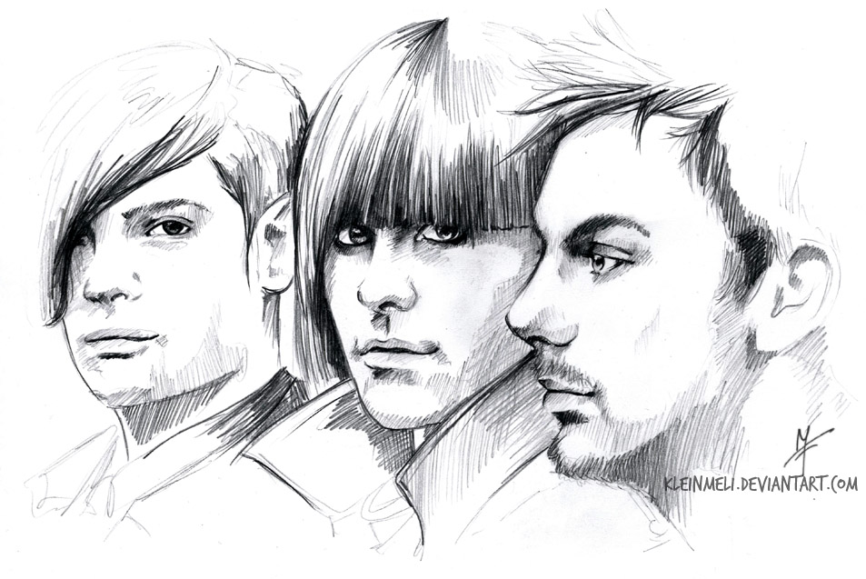 Scribble1 - Shan,Tomo and Jay by kleinmeli