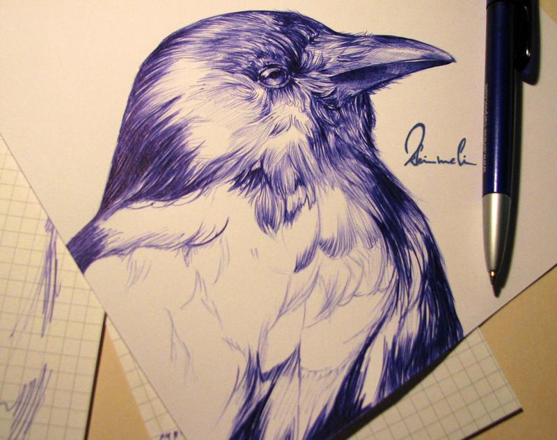 Ballpoint Pen Black Crow - WIP by kleinmeli