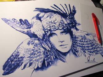 Ballpoint Pen Icarus - WIP by kleinmeli
