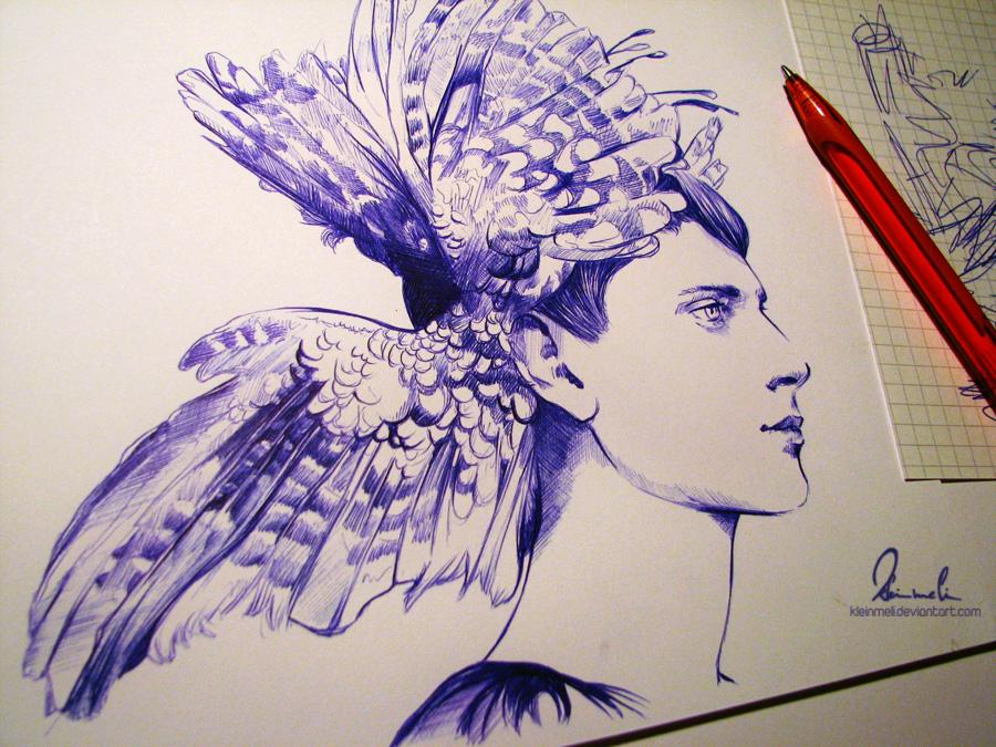 Ballpoint Pen Big Wings - WIP by kleinmeli