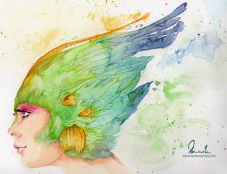 Colorful Featherhead - Watercolor Version by kleinmeli