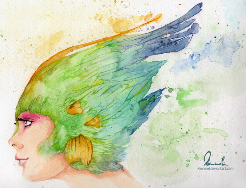 Colorful Featherhead - Watercolor Version by kleinmeli