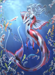 Final Koi Mermaid and little fish by driany