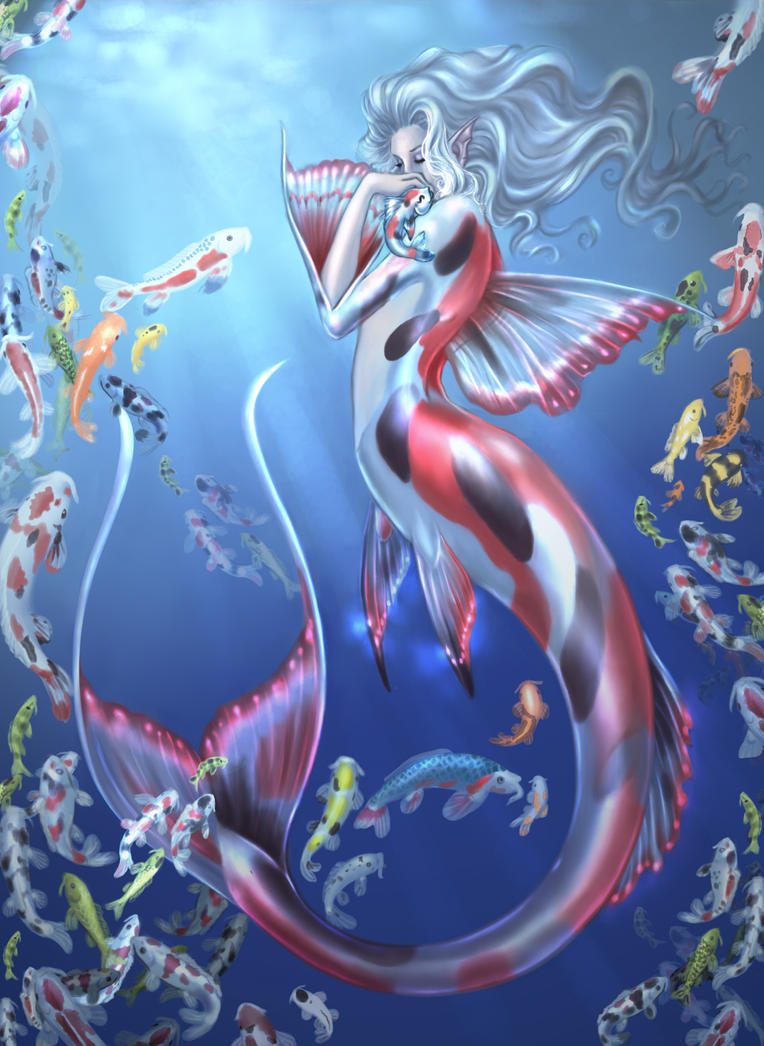 Final koi mermaid and little fish by driany on deviantart for The little mermaid fish
