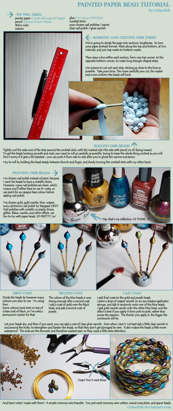Painted Paper Bead Tutorial by Crimefish
