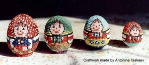 Matryoshka beaded eggs collection