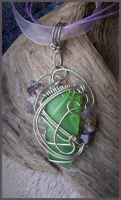 Simple Sea Glass and Amethyst Pendant