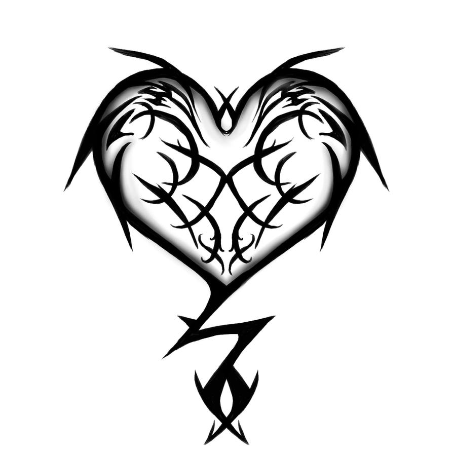 Tattoo Designs Easy To Draw: Tribal Heart Tattoo Design By Fluffys-inu On DeviantArt