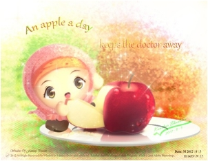 An apple on a day Keeps doctor away by Kauthar-Sharbini