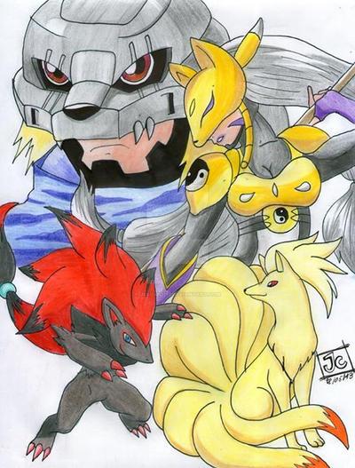 Digimon vs pokemon by Juliian1113