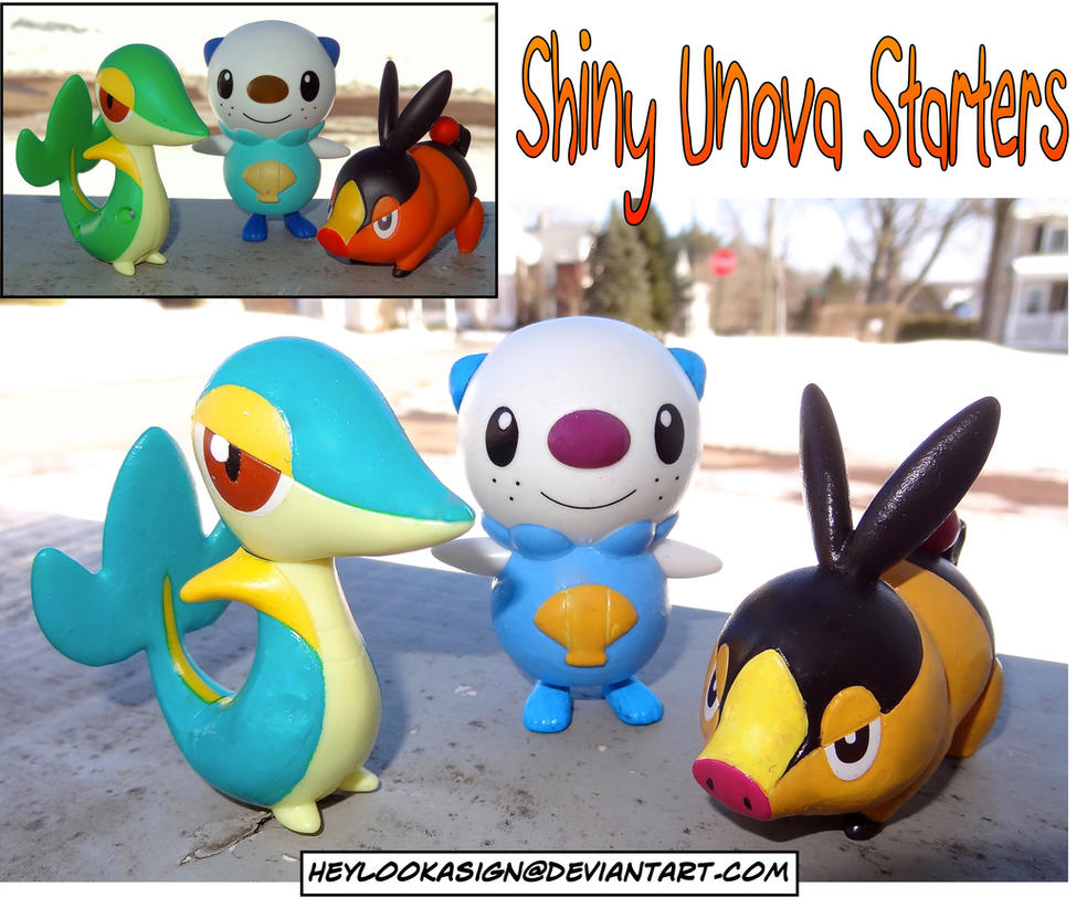 Shiny Pokemon: Unova Starters by HeyLookASign