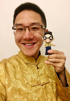 Self portrait with a clay mini me