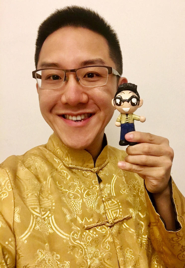 Self portrait with a clay mini me by HeyLookASign