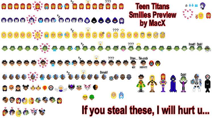 Teen Titans Smilies by HeyLookASign