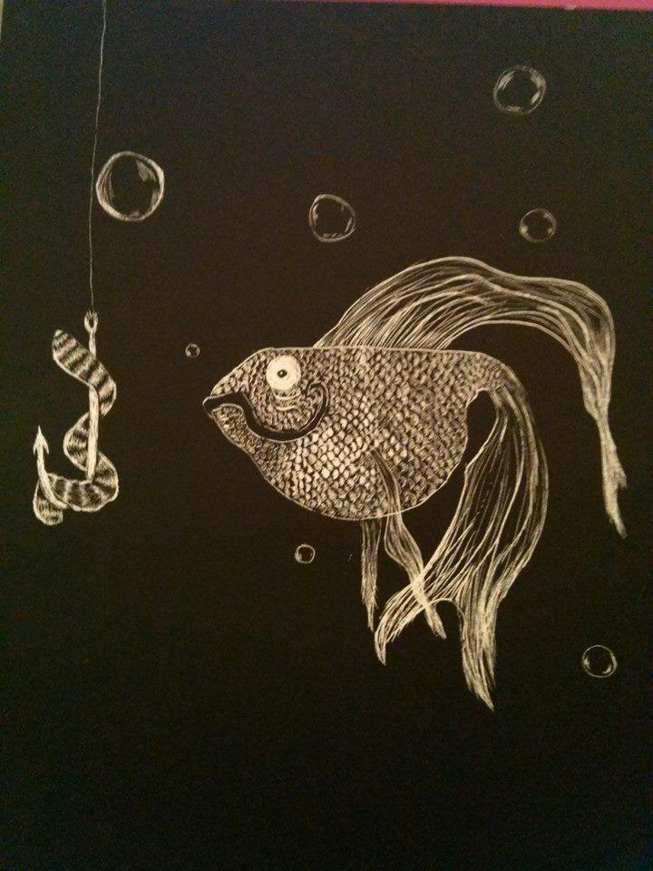 scratchboard fish - WetCanvas