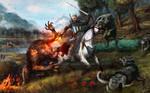 Witcher, horse, werewolf, wolves ART by Maxifen