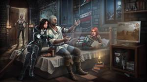 Art Geralt Cirilla Yennefer Triss by Maxifen