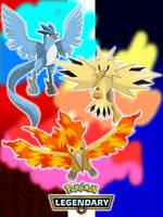 Pokemon 2018 - Articuno, Zapdos, Moltres by UMSAuthorLava