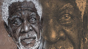 Morgan Freeman - Portrait | Drawing | Pen drawing