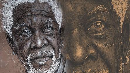 Morgan Freeman - Portrait   Drawing   Pen drawing