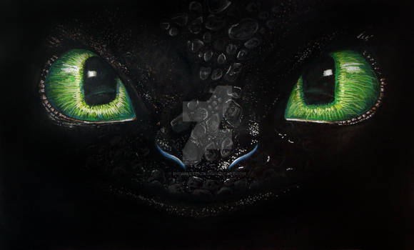 Drawing - Night fury - Toothless - Color Pencil