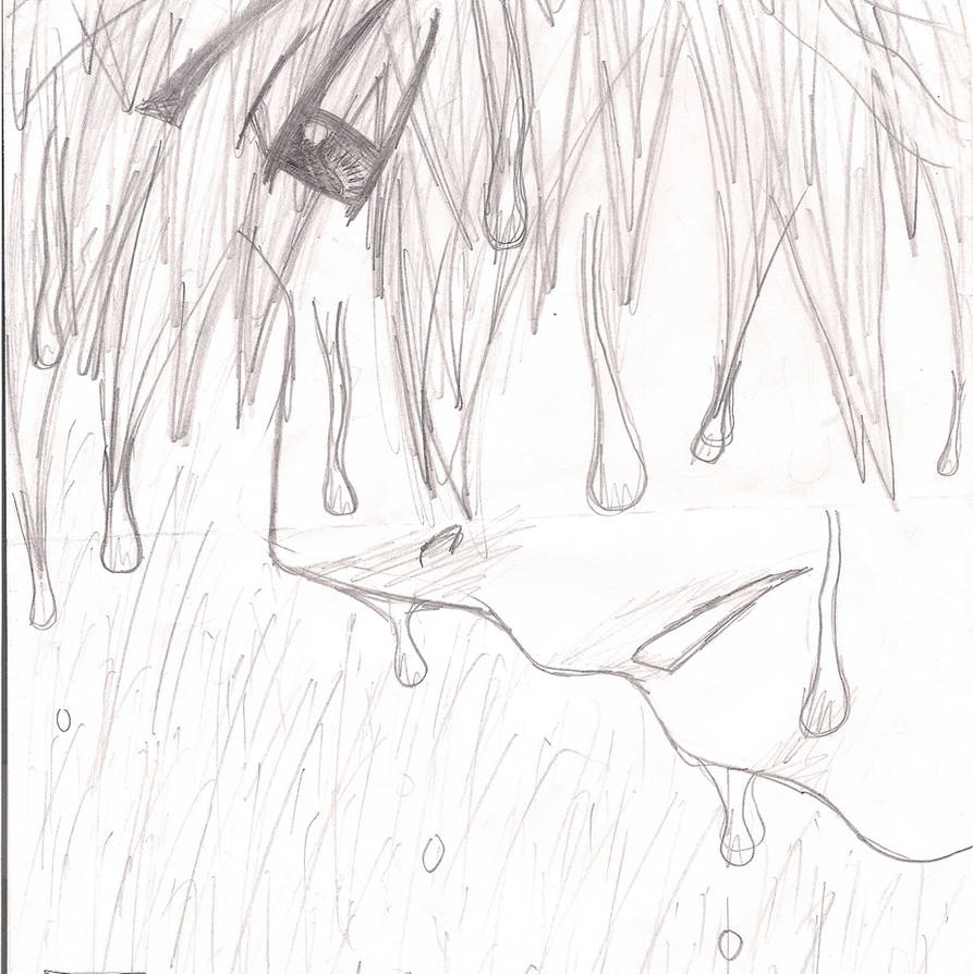 Sad anime boy in the rain by dark punk 13