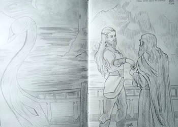 Cirdan the Shipwright giving Narya to Gandalf