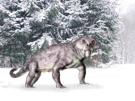Furry gorgonopsian in winter