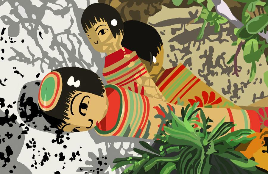 kokeshi descending down rocks by sweet-suzume