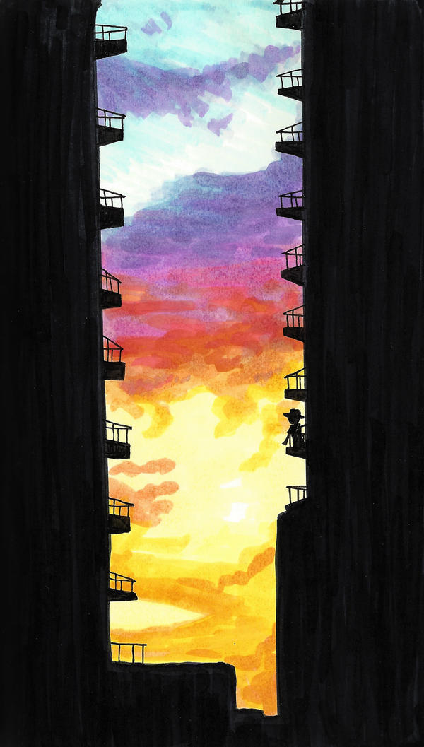 page - sun between buildings by sweet-suzume