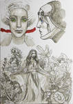Ink Sketch - Flowers by gkpainting