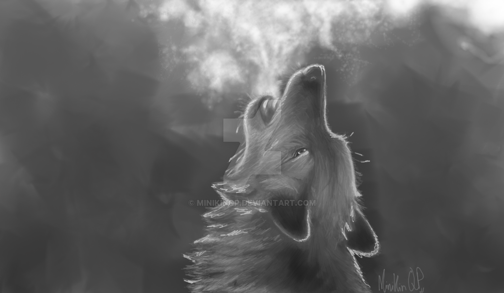 Gray Wolf Howling Drawing Grey Wolf Howling by M...