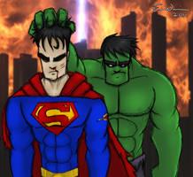VS : Hulk-Superman by ebbewaxin