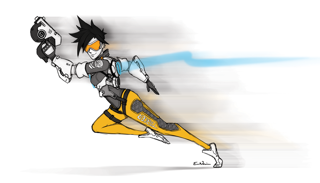 Overwatch Tracer Fanart Sketchy by ebbewaxin