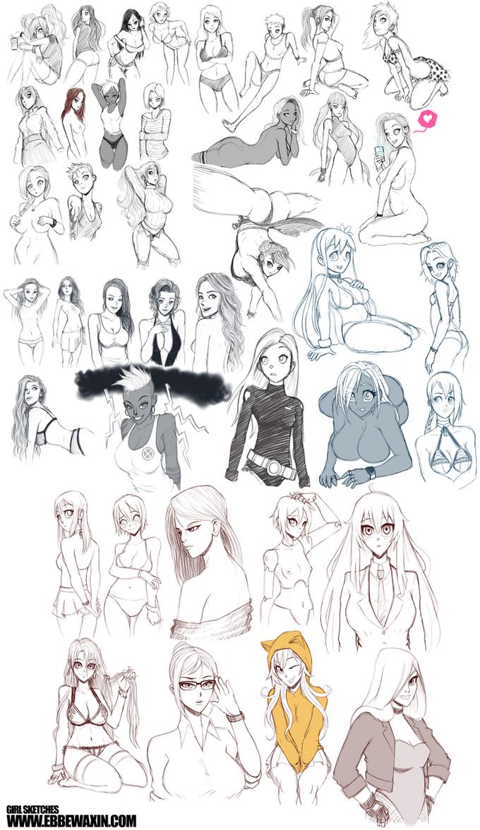 Girls Sketchdump 1 by ebbewaxin