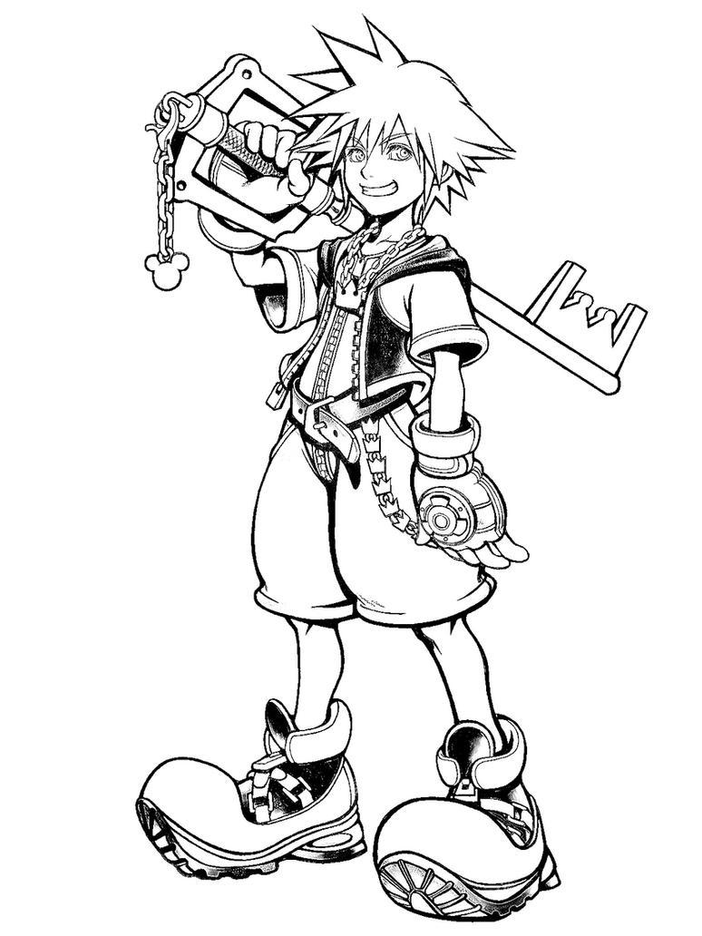 Sora Kingdom Hearts Lineart : Sora in kingdom hearts by shinta on deviantart