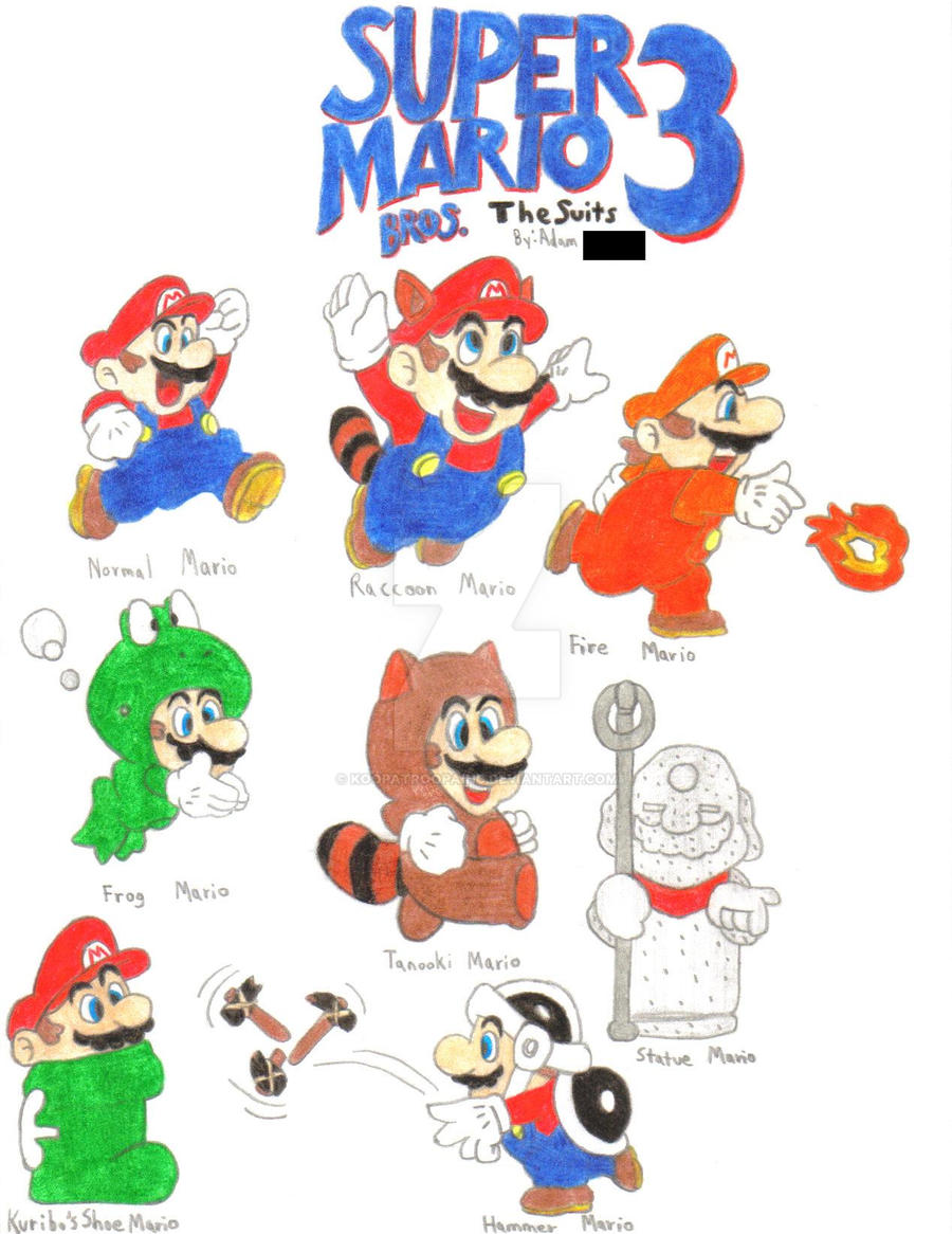 Super Mario Bros 3 The Suits By Koopatroopainc On Deviantart