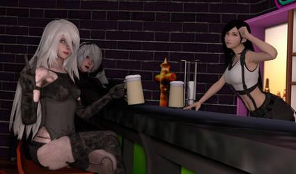 A2, 2B, and Tifa -- Bar Night