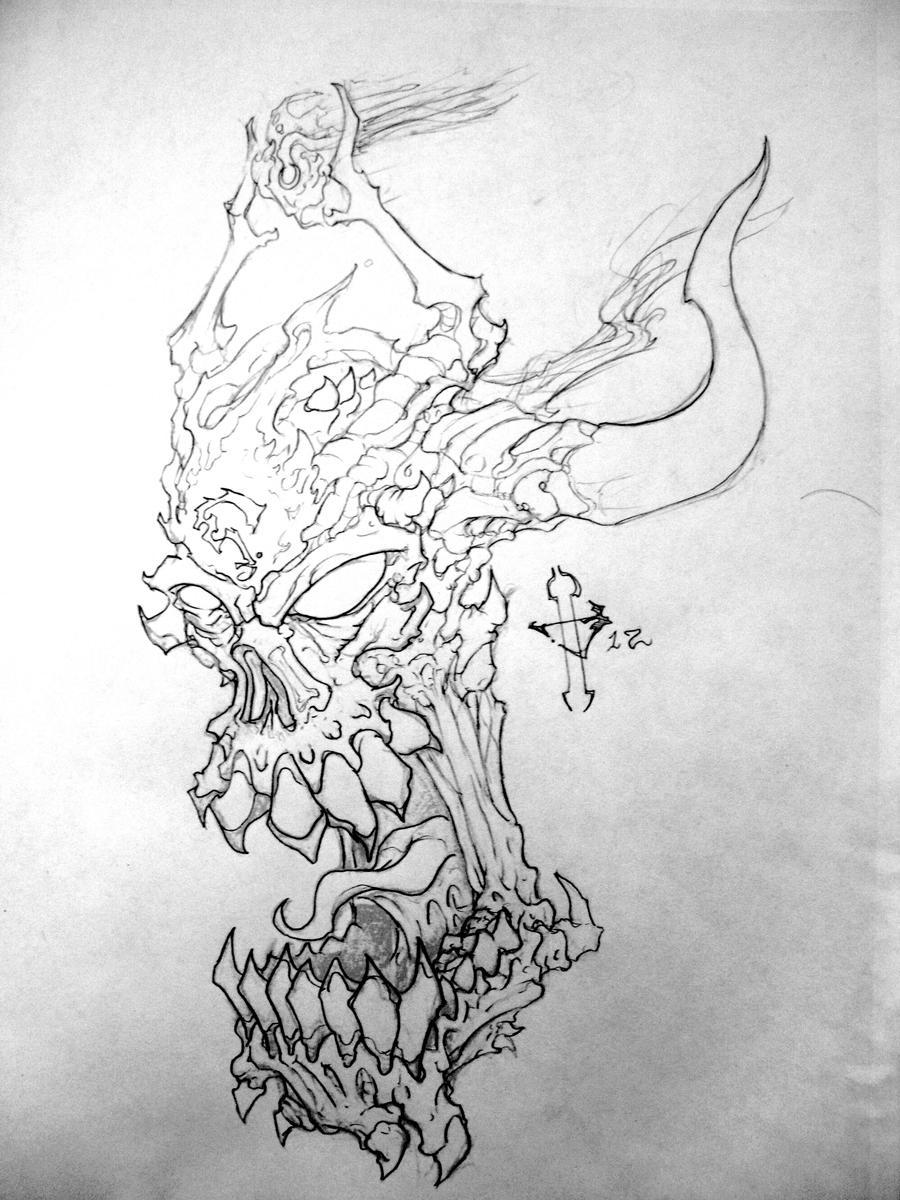 Demon Skull Drawings Demon skull clean by sirjubjub