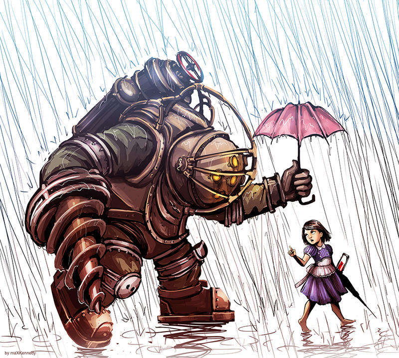 Bioshock big daddy in the rain by maxkennedy on deviantart for Big daddy s antiques
