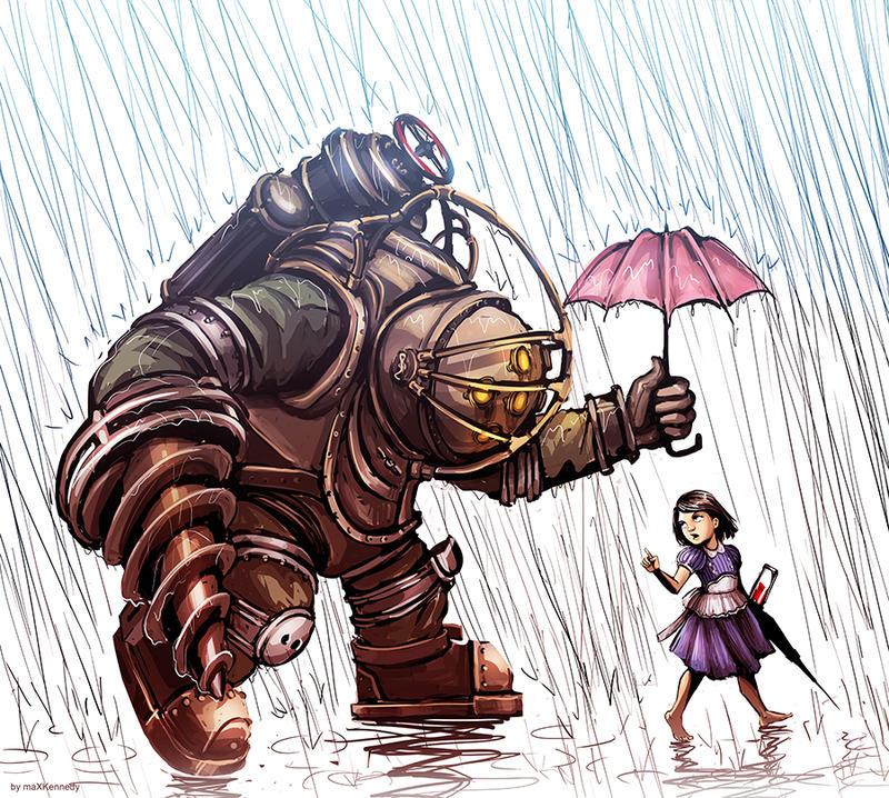 Bioshock - Big Daddy in the Rain by maXKennedy