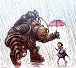 Bioshock - Big Daddy in the Rain