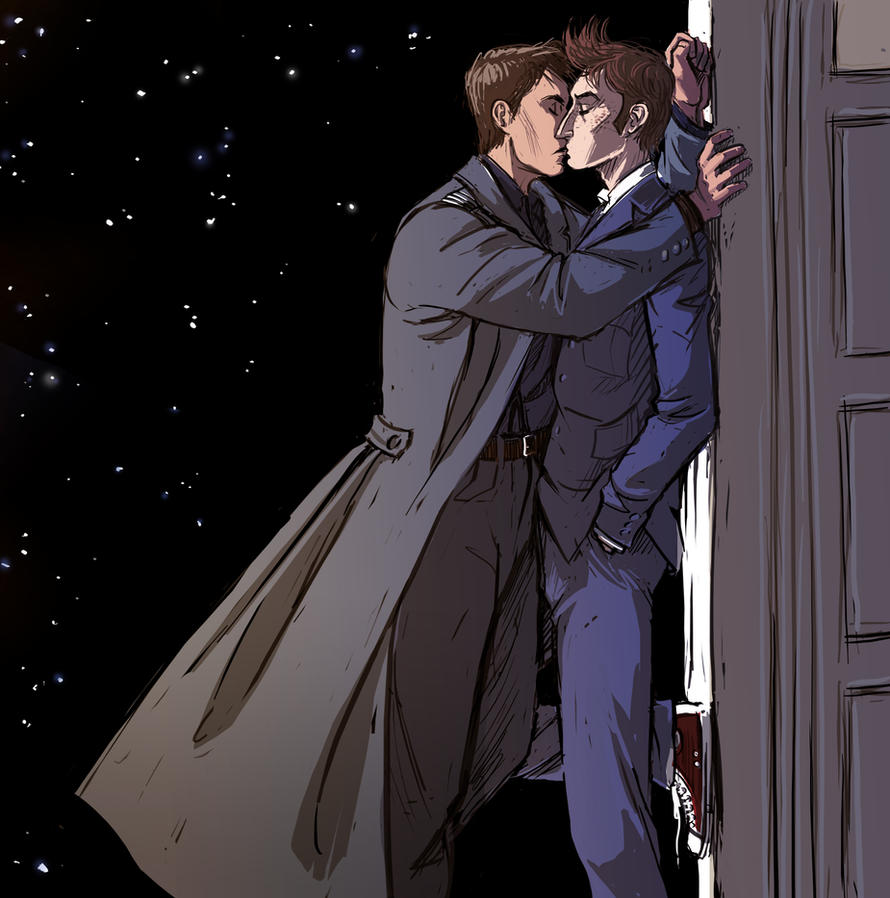 Doctor Who - The Doctor x Jack kiss by maXKennedy