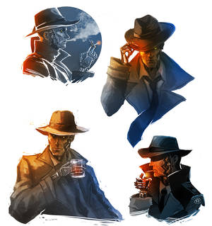 Fallout 4 - Nick Valentine sketches