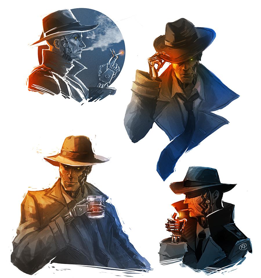 MaXKennedy 2,396 174 Fallout 4   Nick Valentine Sketches By MaXKennedy