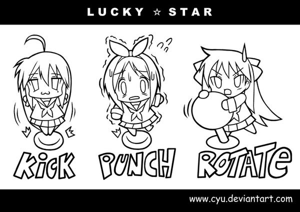 Chibi Lucky Star Lineart by cyu